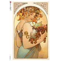 Art Nouveau Mucha Autumn Fruit Woman Rice Paper Decoupage Sheet ~ Italy