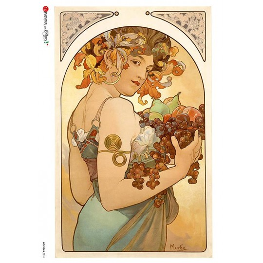 Art Nouveau Mucha Autumn Fruit Woman Rice Paper Decoupage Sheet ~ Italy
