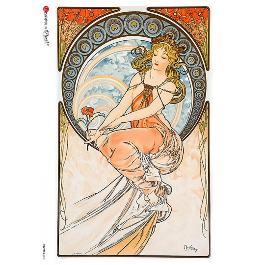 Art Nouveau Mucha Orange Tones Rice Paper Decoupage Sheet ~ Italy