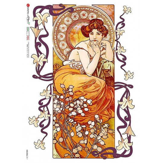 Art Nouveau Mucha Autumn Maiden Rice Paper Decoupage Sheet ~ Italy