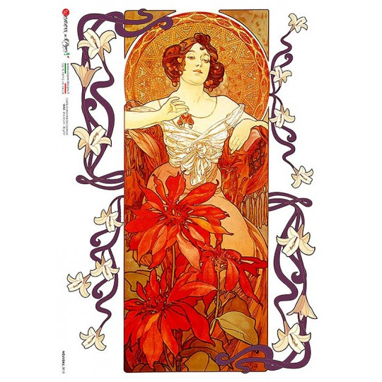 Art Nouveau Mucha Poinsettia Maiden Rice Paper Decoupage Sheet ~ Italy