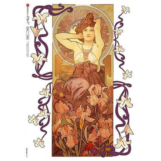 Art Nouveau Mucha Spring Maiden Rice Paper Decoupage Sheet ~ Italy