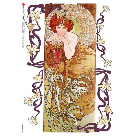 Art Nouveau Mucha Summer Maiden Rice Paper Decoupage Sheet ~ Italy