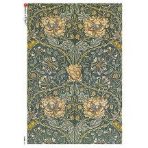 William Morris Art Nouveau Flower and Vines Rice Paper Decoupage Sheet ~ Italy