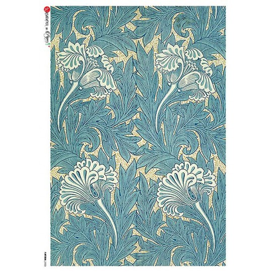 William Morris Art Nouveau Blue Blossoms Rice Paper Decoupage Sheet ~ Italy