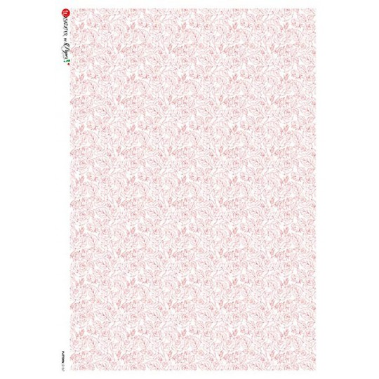 Petite Pink Roses Rice Paper Decoupage Sheet ~ Italy