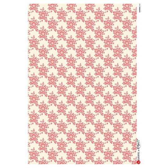 Red and Ivory Calico Rice Paper Decoupage Sheet ~ Italy