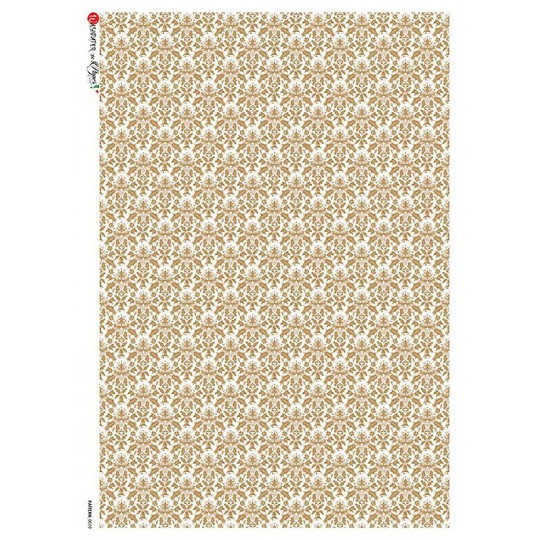 Golden Brocade Rice Paper Decoupage Sheet ~ Italy