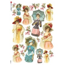 Victorian Ladies Rice Paper Decoupage Sheet ~ Italy
