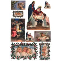 Angels Nativity and Holly Rice Paper Decoupage Sheet ~ Italy