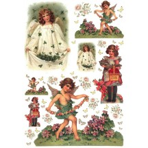 Springtime Angels with Shamrocks and Flowers Rice Paper Decoupage Sheet ~ Italy