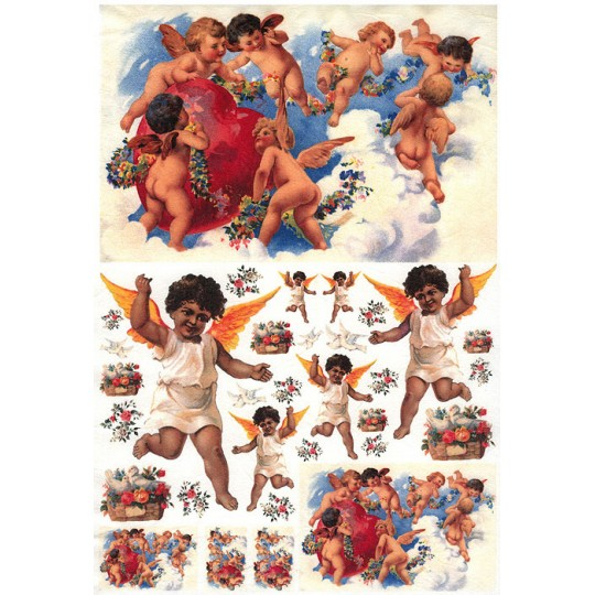 Valentine Cherubs with Hearts Rice Paper Decoupage Sheet ~ Italy