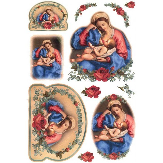 Madonna and Child with Roses Rice Paper Decoupage Sheet ~ Italy