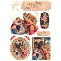 Italian Nativity Scenes with Cherubs Rice Paper Decoupage Sheet ~ Italy