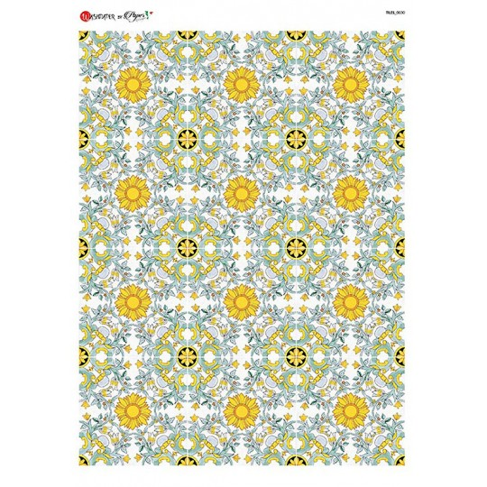 Blue and Yellow Floral Tiles Rice Paper Decoupage Sheet ~ Italy