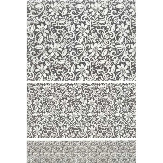 Floral and Vine Lace Rice Paper Decoupage Sheet ~ Italy