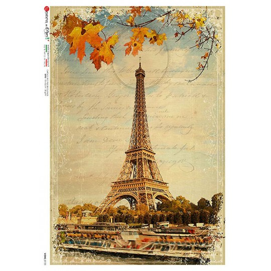 Paris Eiffel Tower Collage Rice Paper Decoupage Sheet ~ Italy