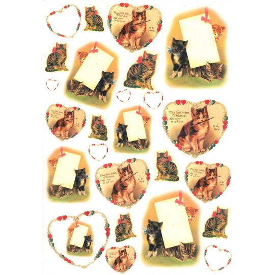 Kitty Cat Valentines and Hearts Rice Paper Decoupage Sheet ~ Italy