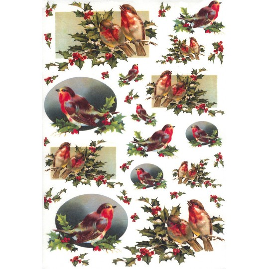 Christmas Birds with Holly Rice Paper Decoupage Sheet ~ Italy