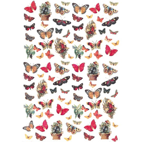 Mixed Petite Butterflies Rice Paper Decoupage Sheet ~ Italy