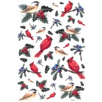 Christmas Cardinals and Birds with Holly Rice Paper Decoupage Sheet ~ Italy