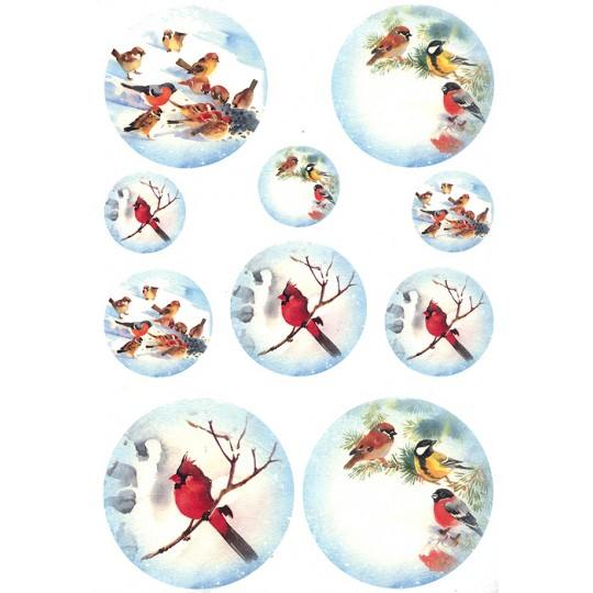 Snowy Christmas Cardinals Rice Paper Decoupage Sheet ~ Italy