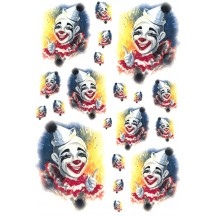 Colorful Clown Rice Paper Decoupage Sheet ~ Italy