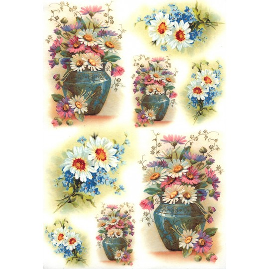 Springtime Daisies and Flowers Rice Paper Decoupage Sheet ~ Italy