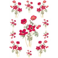 Red Poppies Rice Paper Decoupage Sheet ~ Italy