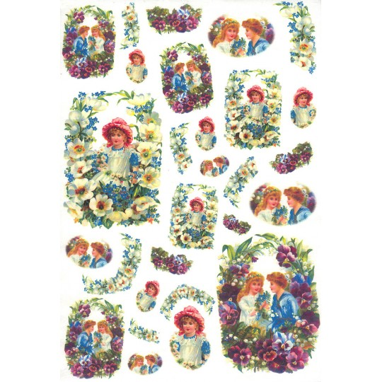 Children with Pansies and Flowers Rice Paper Decoupage Sheet ~ Italy