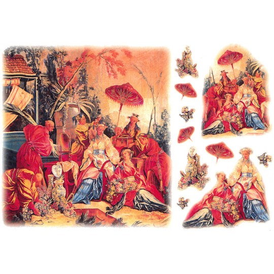 Chinoiserie Scenes Rice Paper Decoupage Sheet ~ Italy