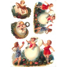 Easter Angels in Eggs Rice Paper Decoupage Sheet ~ Italy