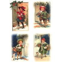Victorian Children Christmas Rice Paper Decoupage Sheet ~ Italy