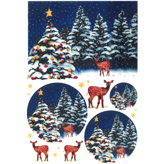 Christmas Tree and Reindeer Rice Paper Decoupage Sheet ~ Italy