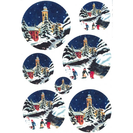 Snowy Village Rice Paper Decoupage Sheet ~ Italy