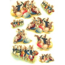 Easter Bunny Egg Parade Rice Paper Decoupage Sheet ~ Italy