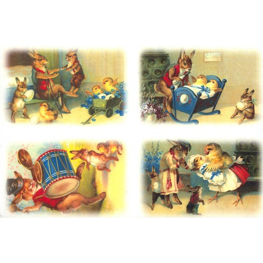 Vintage Easter Scenes Rice Paper Decoupage Sheet ~ Italy