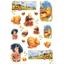Easter Bunnies and Chicks Rice Paper Decoupage Sheet ~ Italy