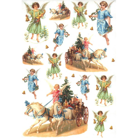 Christmas Angels and Horse Sleighs Rice Paper Decoupage Sheet ~ Italy