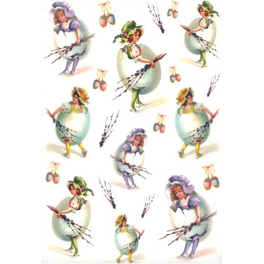 Easter Girls in Eggs and Bonnets Rice Paper Decoupage Sheet ~ Italy