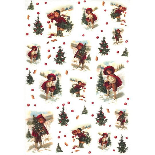 Christmas Children with Trees Rice Paper Decoupage Sheet ~ Italy