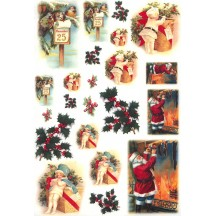 Mixed Christmas Scenes Rice Paper Decoupage Sheet ~ Italy