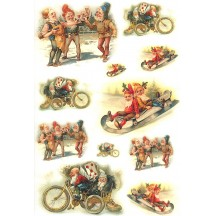 Festive Gnomes Rice Paper Decoupage Sheet ~ Italy
