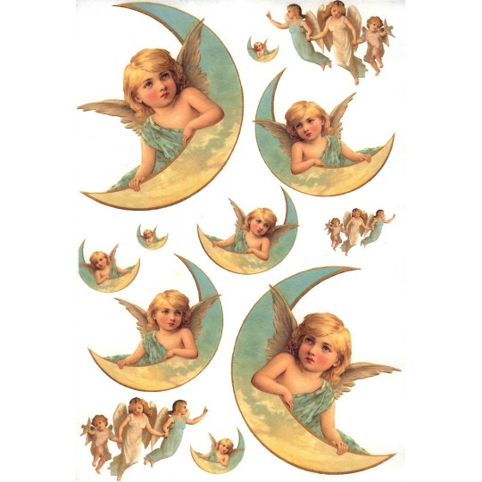Angels and Moons Rice Paper Decoupage Sheet ~ Italy