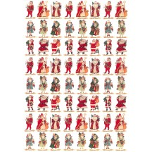 Small Mixed Santas Rice Paper Decoupage Sheet ~ Italy