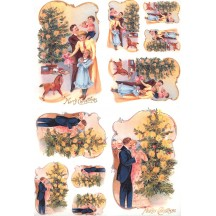 Victorian Family Christmas Rice Paper Decoupage Sheet ~ Italy