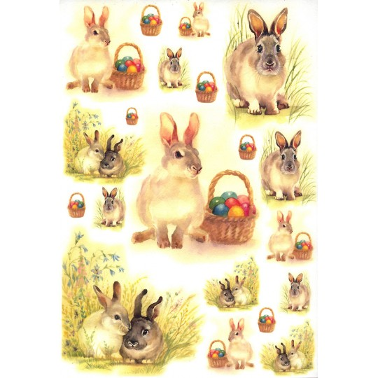 Easter Bunnies with Baskets Rice Paper Decoupage Sheet ~ Italy