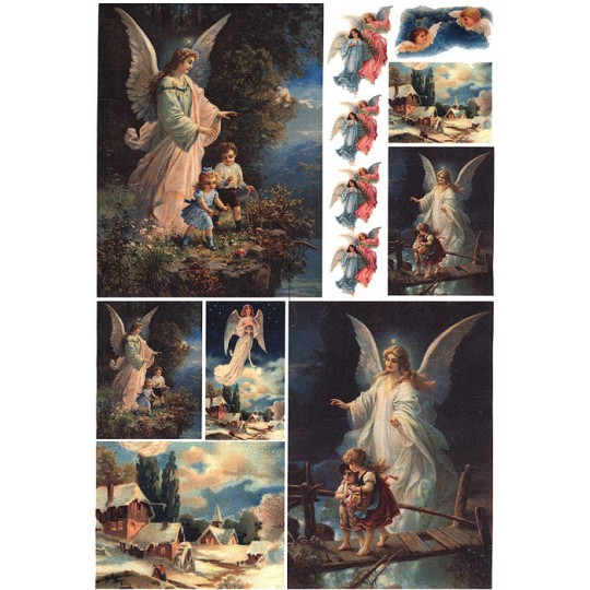 Guardian Angels Rice Paper Decoupage Sheet ~ Italy