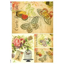 Post Card Butterfly Ephemera Collage Rice Paper Decoupage Sheet ~ Italy