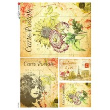 Post Card Floral Ephemera Collage Rice Paper Decoupage Sheet ~ Italy